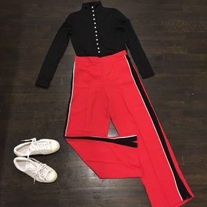 Belle Vere Red Wide Leg Track Pants
